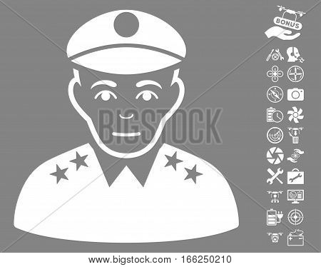 Army General pictograph with bonus flying drone tools symbols. Vector illustration style is flat iconic white symbols on gray background.