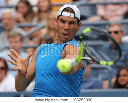 NEW YORK - SEPTEMBER 3, 2016: Grand Slam champion Rafael Nadal of Spain in practice for US Open 2016 at Billie Jean King National Tennis Center