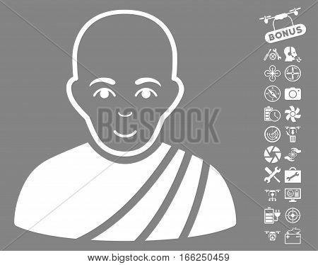 Buddhist Monk icon with bonus quadrocopter tools pictures. Vector illustration style is flat iconic white symbols on gray background.