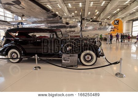 Santa Ana CA USA - January 21 2017: Black 1939 Packard Model 1708 sport Phaeton displayed at the Lyon Air Museum in Santa Ana California United States. It was used during World War II. Editorial use only.