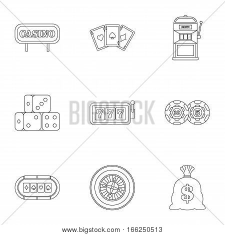 Win icons set. Outline illustration of 9 win vector icons for web