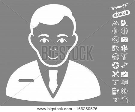 Businessman pictograph with bonus quad copter service icon set. Vector illustration style is flat iconic white symbols on gray background.