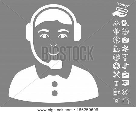 Call Center Operator icon with bonus quadrocopter service clip art. Vector illustration style is flat iconic white symbols on gray background.