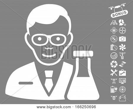 Chemist icon with bonus flying drone service pictograph collection. Vector illustration style is flat iconic white symbols on gray background.