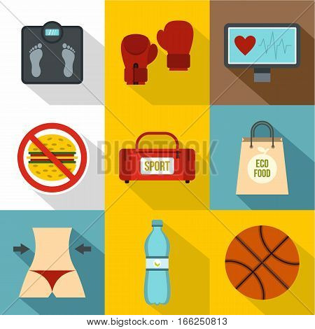 Active sport icons set. Flat illustration of 9 active sport vector icons for web