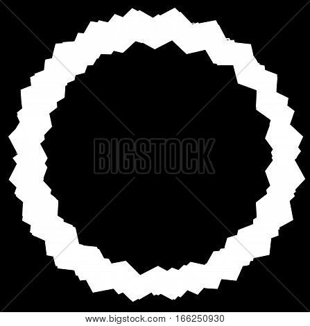 Edgy, Zigzag Circle Frame, Circle Border. Textured Circular Shape