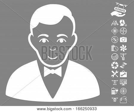 Dealer icon with bonus drone tools icon set. Vector illustration style is flat iconic white symbols on gray background.