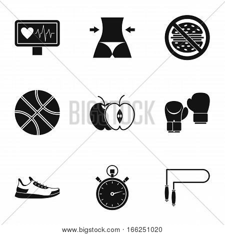 Active sport icons set. Simple illustration of 9 active sport vector icons for web