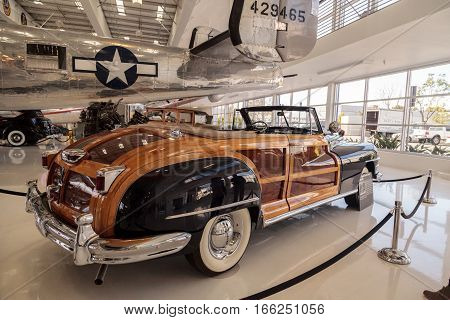 Santa Ana CA USA - January 21 2017: Woodie 1946 Chrysler Town and Country Convertible displayed at the Lyon Air Museum in Santa Ana California United States. It was used during World War II. Editorial use only.