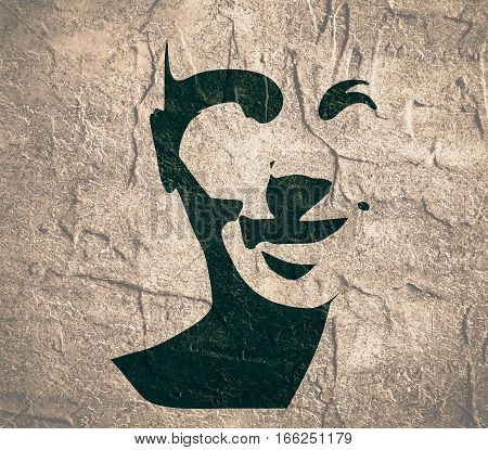 Human head silhouette. Face front view. Elegant silhouette of part of human face. . Grunge texture