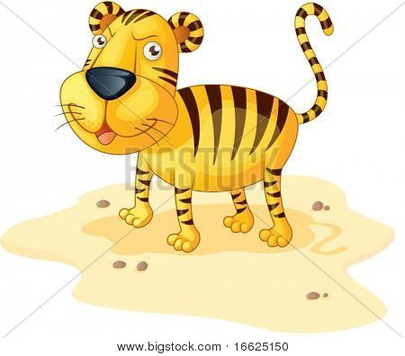 Happy tiger watching you hungrily