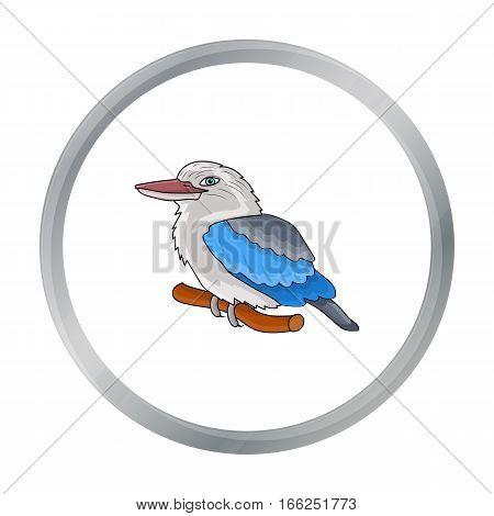 Kookaburra sitting on branch icon in cartoon design isolated on white background. Australia symbol stock vector illustration. - stock vector