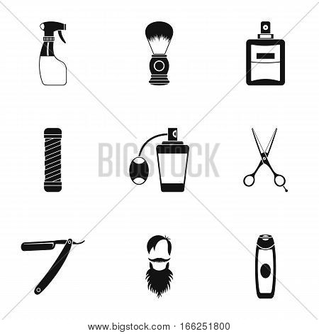 Hairstyle icons set. Simple illustration of 9 hairstyle vector icons for web