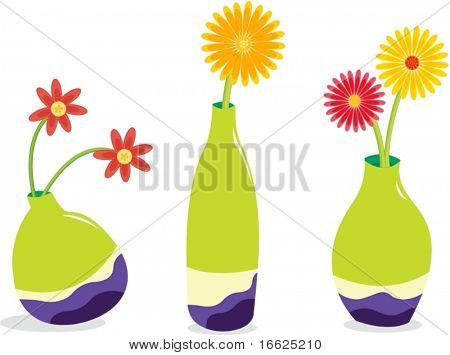 Three green vases filled with bright flowers