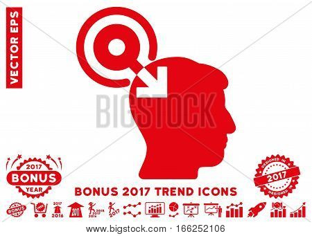 Red Brain Interface Plug-In pictogram with bonus 2017 year trend pictures. Vector illustration style is flat iconic symbols, white background.