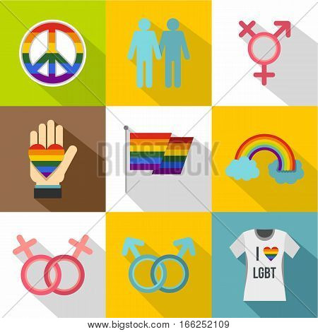 Gays and lesbians icons set. Flat illustration of 9 gays and lesbians vector icons for web