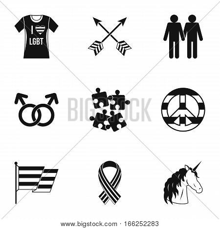 Gays and lesbians icons set. Simple illustration of 9 gays and lesbians vector icons for web