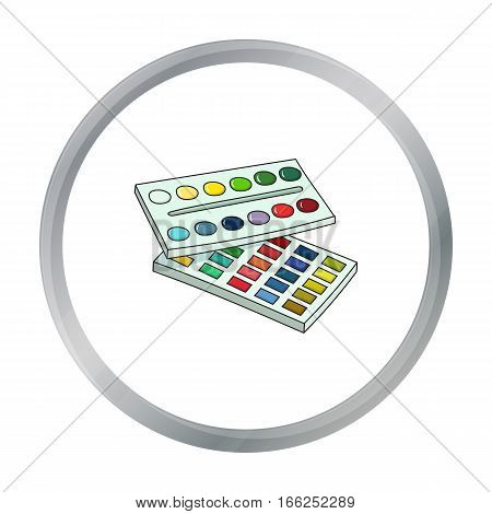 Watercolor paint icon in cartoon style isolated on white background. Artist and drawing symbol vector illustration. - stock vector