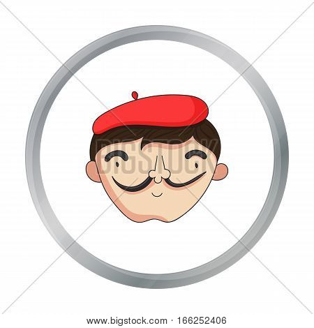 Self-portrait of artist icon in cartoon style isolated on white background. Artist and drawing symbol vector illustration. - stock vector