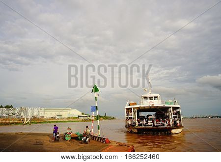 Can Tho Vietnam - Aug 7 2016. A ferry running on the river in Can Tho city southern Vietnam. Can Tho is the fourth-largest city in Vietnam and the largest city in the Mekong Delta.