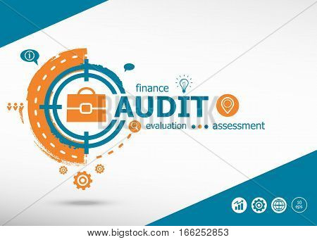 Audit Concept On Target Icon Background.