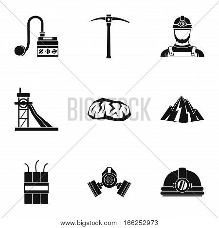 Coal mining icons set. Simple illustration of 9 coal mining vector icons for web