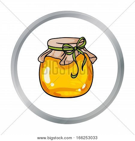 Jar of honey icon in cartoon style isolated on white background. Apiary symbol vector illustration - stock vector