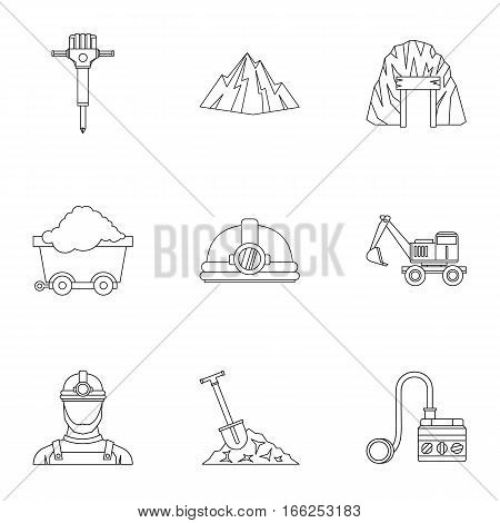 Mining activities icons set. Outline illustration of 9 mining activities vector icons for web