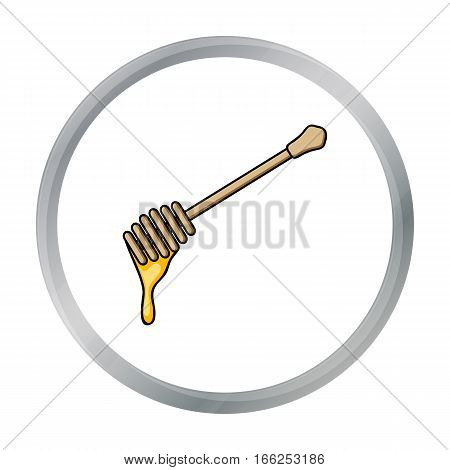 Honey dipper icon in cartoon style isolated on white background. Apiary symbol vector illustration - stock vector