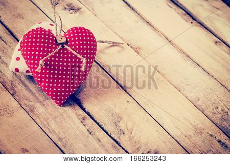 Fabric Heart On Wooden Background With Space For Text
