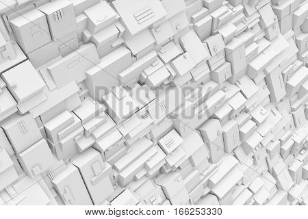 3d rendering of gray background made of various lines and figures. 3d modeling. Computer graphics. Technology illustration