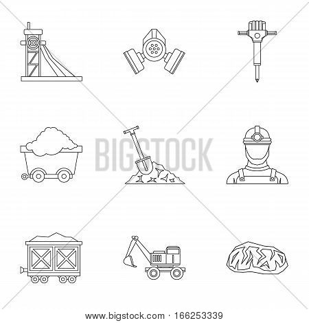 Mine icons set. Outline illustration of 9 mine vector icons for web
