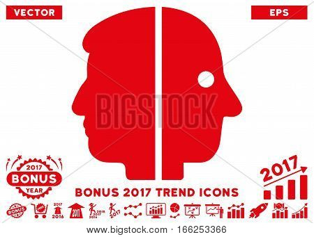 Red Dual Face icon with bonus 2017 year trend elements. Vector illustration style is flat iconic symbols, white background.