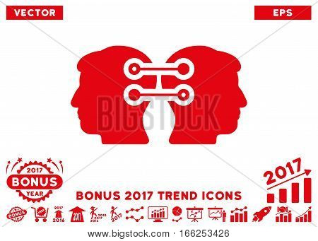 Red Dual Heads Interface Connection pictograph with bonus 2017 year trend clip art. Vector illustration style is flat iconic symbols, white background.
