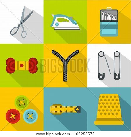 Sewing supplies icons set. Flat illustration of 9 sewing supplies vector icons for web