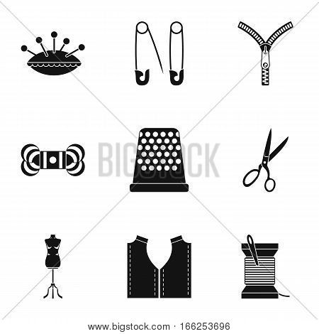 Embroidery kit icons set. Simple illustration of 9 embroidery kit vector icons for web