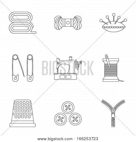 Accessories for sewing workshop icons set. Outline illustration of 9 accessories for sewing workshop vector icons for web