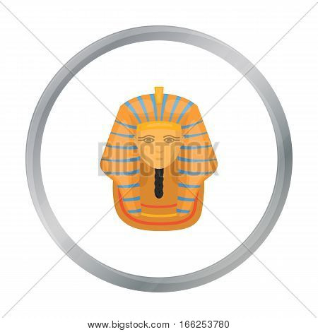 Pharaoh's golden mask icon in cartoon style isolated on white background. Ancient Egypt symbol vector illustration. - stock vector
