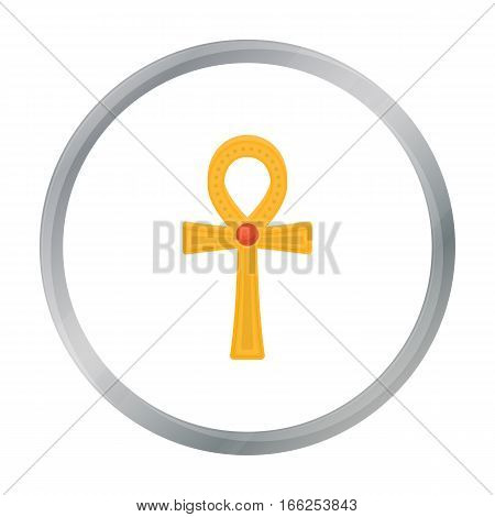 Ankh icon in cartoon style isolated on white background. Ancient Egypt symbol vector illustration. - stock vector