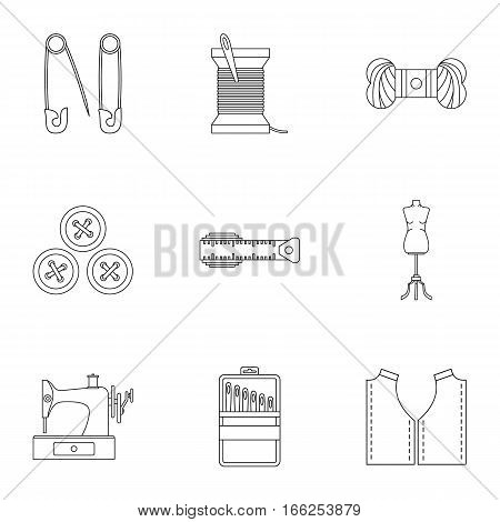 Embroidery kit icons set. Outline illustration of 9 embroidery kit vector icons for web