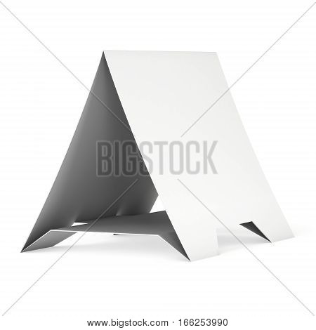 Blank paper tent card. 3d render illustration isolated. Table card mock up on white background.