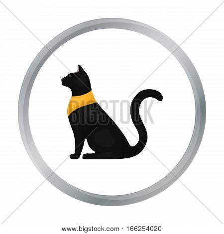 Cat goddess Bastet icon in cartoon style isolated on white background. Ancient Egypt symbol vector illustration. - stock vector