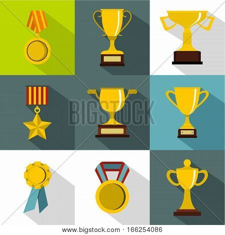 Rewarding icons set. Flat illustration of 9 rewarding vector icons for web