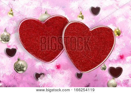 3D illustration, Two heart on tree pink color and beautiful background for greeting card and wedding card decoration. Valentine's day concept.