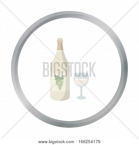 White wine icon in cartoon style isolated on white background. Alcohol symbol vector illustration. - stock vector