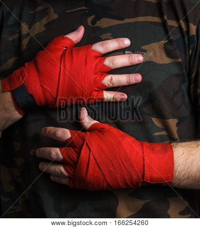 Close-up of hand boxer wrist wraps before the fight