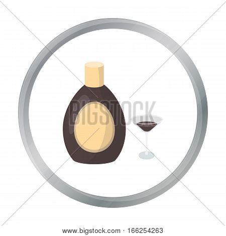 Chocolate liqueur icon in cartoon style isolated on white background. Alcohol symbol vector illustration. - stock vector