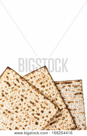Traditional Jewish matzah for Pesach. On white background