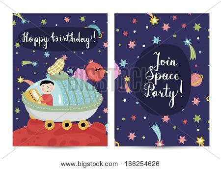 Happy birthday cartoon greeting card on space. Boy driving exploration rover on distant planet in cosmos vector. Bright invitation on childrens party. Greeting card for kids. Cartoon space on happy birthday greeting cards. Invitation design