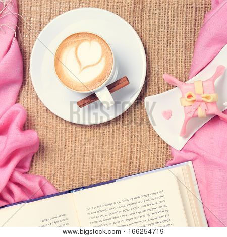 Coffee With Pink Scarf. Valentines Concept. Rustic Style. Flat Lay View. Gift Style Cake And A Book.